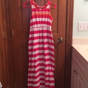 Pink and white striped maxi dress